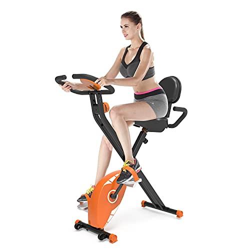 Bicicleta Estática Plegable, Fitness Bicicleta Plegable con Pantalla LCD, Bicicleta Estática con Resistencia Magnética Ajustable de 8 Niveles, para Uso Doméstico y de Oficina