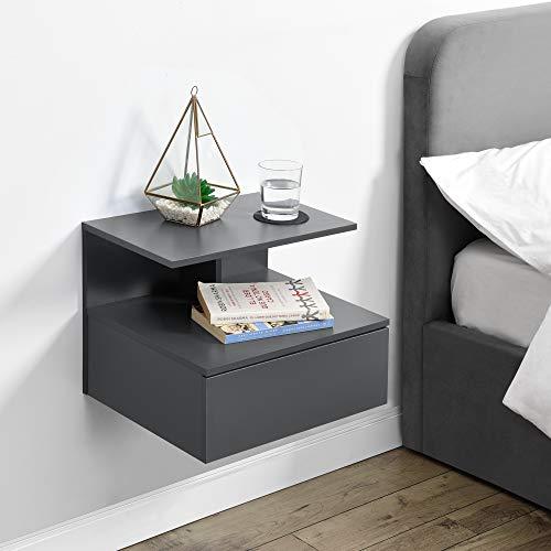 [en.casa] Wandschrank mit Schublade in Dunkelgrau Wandnachttisch 40x35x31cm Nachttisch Hängeschrank Wandregal Ablage Schweberegal Schubladenregal