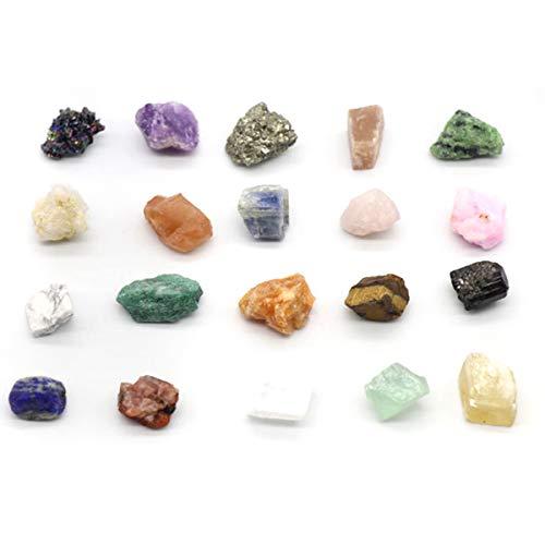 20 Colección de Rocas Minerales Naturales Geología Educación Energía Cristales Minerales Especímenes Piedras Irregulares
