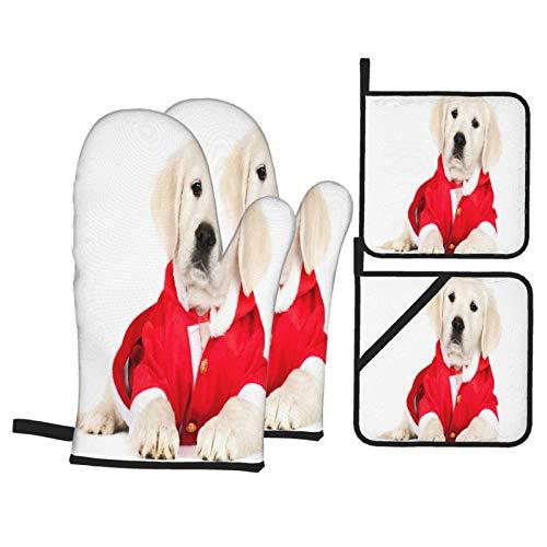 Juego de 4 Guantes y Porta ollas para Horno Resistentes al Calor Adorable Golden Retriever Puppy Santa Disfraz para Hornear en la Cocina,microondas,Barbacoa