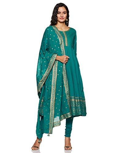 BIBA Women's Cotton Anarkali Salwar Suit Set (152090_SKD5170TEAL GREEN_Tgrn_38)