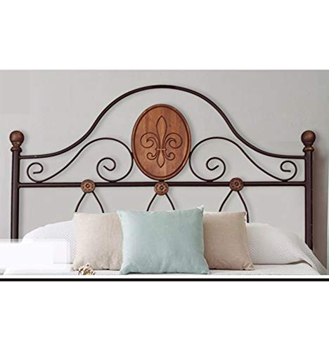 Cabecero forja y Madera Arcos - Negro, Cabecero para colchón de 140 cm