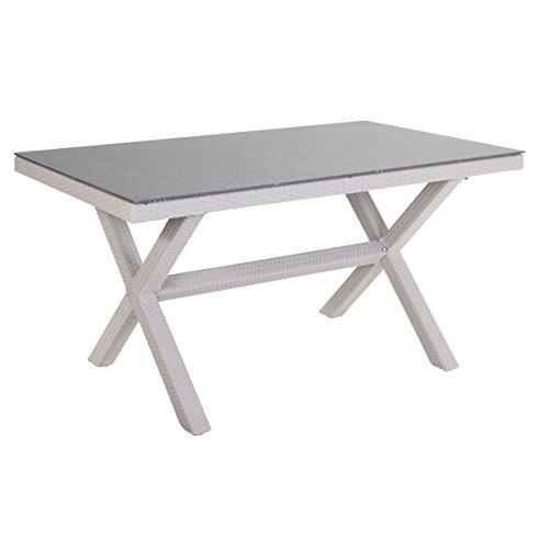 Unbekannt VARILANDO Tisch Bill mit Glasplatte aus Aluminium und Kunststoffgeflecht 150 cm Gartentisch Esstisch Glastisch (Cremefarben)
