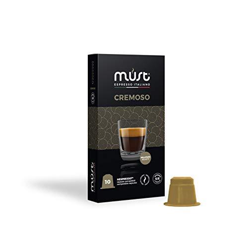 MUST 100 Cápsulas de Café en Aluminio 100% Reciclable Hasta el Infinito Mezcla Cremosa Intensidad 6/8 10 Paquete de 10 Cápsulas Compatibles con las Cápsulas de la Máquina Nespresso Made in Italy