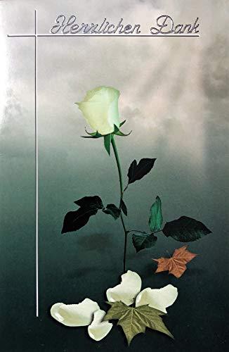 Trauer Danksagungskarten Trauerkarten ohne Innentext Motiv Rose 10 Klappkarten mit weißen Umschlägen im Set Dankeskarten Dankeschön Karten Kuvert Danke sagen Beileid K161