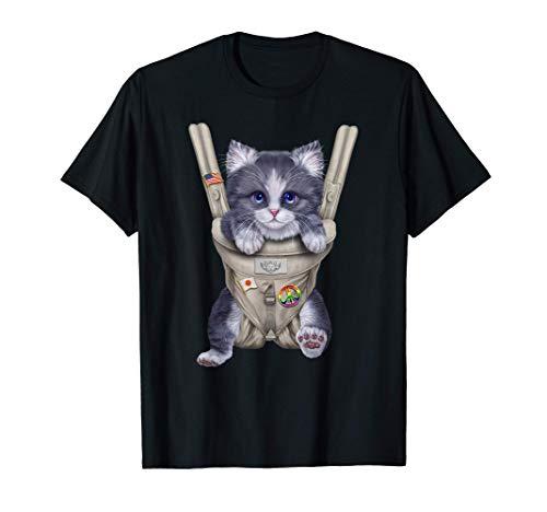 Gato gris bicolor en portabebé Camiseta