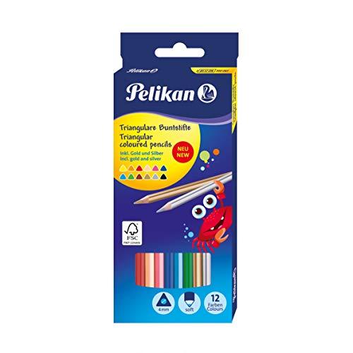 Pelikan 700061 Buntstifte, dreieckig Standard, 12 Stifte inklusive Gold und silber, FSC