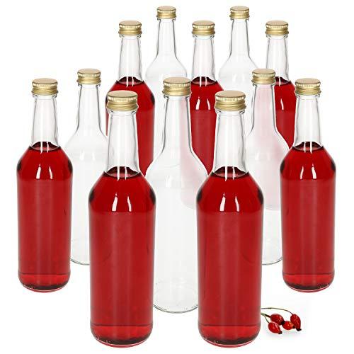MamboCat Glasflaschen 500ml Schraubverschluss Gold I 12 Stück leere Flaschen zum Befüllen - Likörflaschen Schnapsflaschen I hochwertiger geschäumter Deckel - luftdicht I Glasflasche 12 Stück