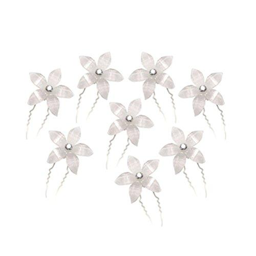 Leorx - Pasadores de pelo en forma de U, con cristales, para bodas, 8 unidades (color blanco)