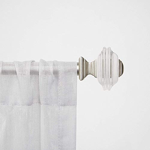 """Chaps Stacked Square ¾"""" Diameter Window Curtain Rod and Finial Set, 66""""-120"""", Matte Nickel"""