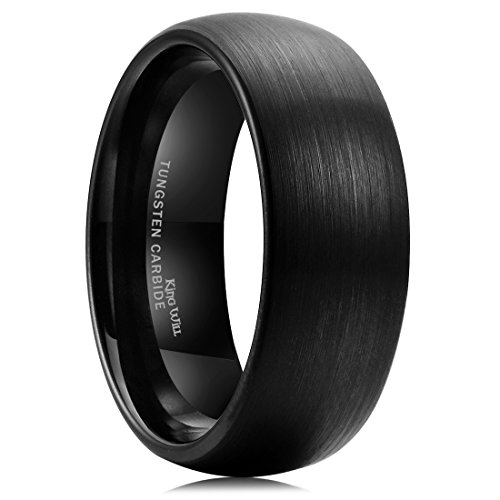 King Will TYRE 8mm Black Brushed Matte Finish Tungsten Carbide Ring Domed Engagement Wedding Band Comfort Fit(10)