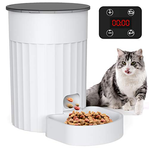 DADYPET自動給餌器猫犬用給餌器猫小型犬用ペット自動餌やり機2Way給電電源オフ記憶機能定時定量1年品質保証3L可視トップカバー洗える犬猫お留守番対策日本語取扱書