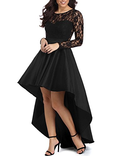 Elapsy Womens Elegant Long Sleeve Lace High Low Satin Prom Evening Dress Cocktail Party Gowns Black Large