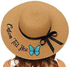 Custom Floppy Straw Sun Hat with Text Personalized Wide Brim Summer Beach Hat