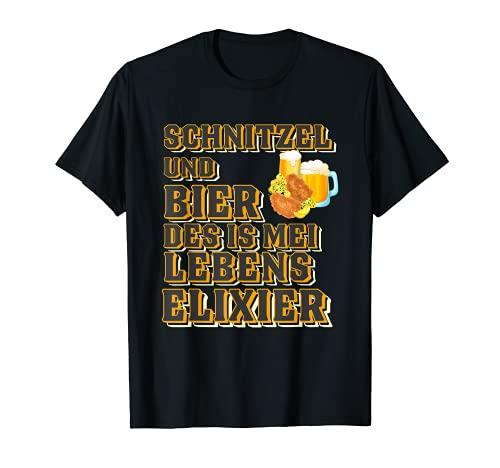 Schnitzel und Bier Fleischkäse Lebenselixier T-Shirt