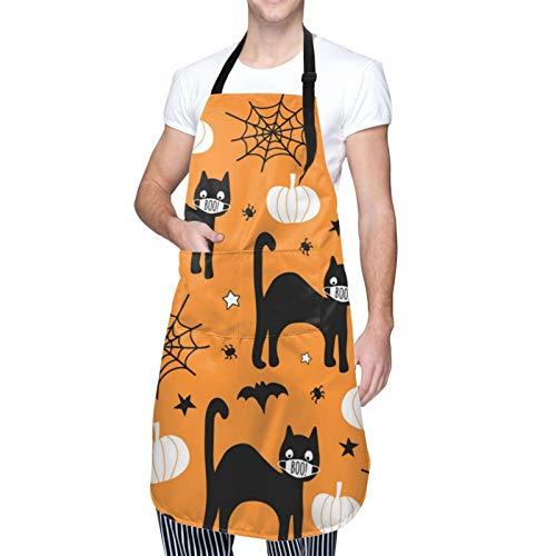 HXJIULI Halloween Coronavirus Black Cat Adjustable Bib Apron Durable Waterproof with Pockets Aprons for Women Men Kitchen Cooking BBQ Gardening Painting