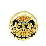 GNOCE Jack Skull Halloween Charms Bead Plata De Ley 18K Chapado En Oro Suger Skull Sugar Skull Charm Beads Fit Pulsera/Collar Para Mujeres Niñas