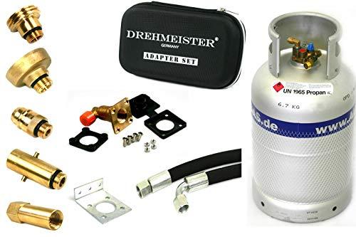 ALUGAS Tankflasche 27L mit 80% Multiventil & Tankadapter + Direktbetankungsadapter, Etui, Einbauset (HK gewinkelt, 1,00m ger-90°) - Gasflasche wiederbefüllbar für Wohnmobil, Caravan, Camping