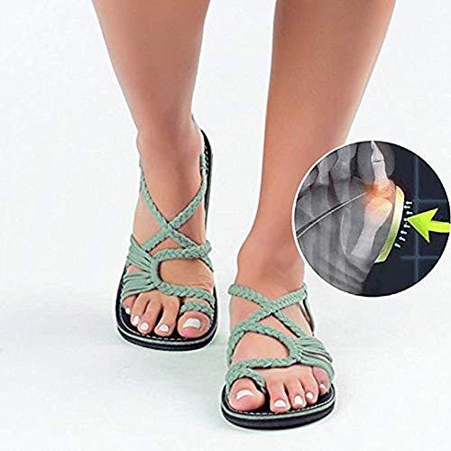 Señoras del Verano Sandalias De Nudo De La Cuerda del Dedo Gordo Corrección del Dedo del Pie Deformidad Moda Sandalias Cómodo Expuesto Zapatos Planos Tres Colores Opcionales,Green,7UK