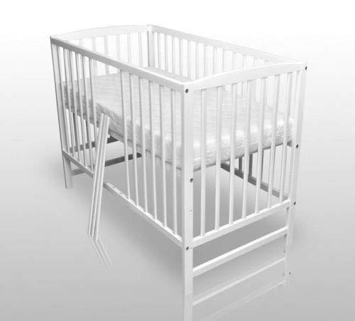 Denis Babybett Kinderbett Gitterbett Weiß Vollmassiv 120x60cm mit Matratze NEU