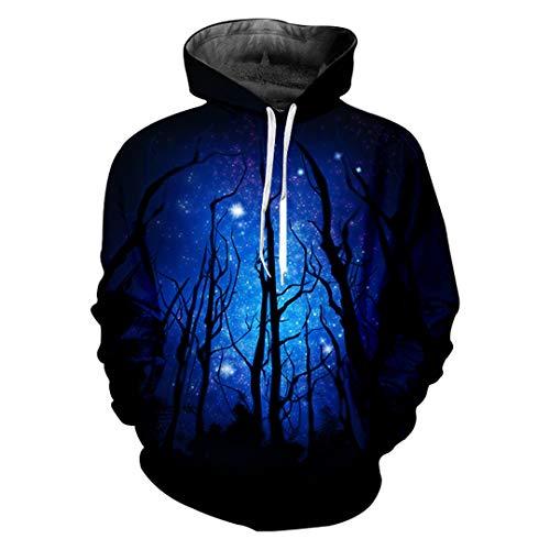 Winter Trend Lose Herren Hoodies 3D Schöner Sternenhimmel Baum Kreativer Big Size Pullover Starry Sky Tree L