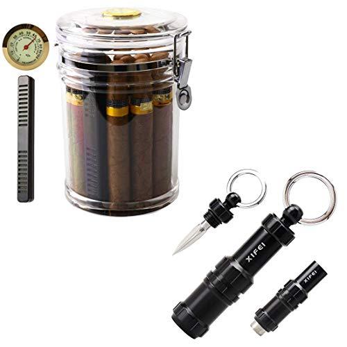 XIFEI Acrylic Humidor Jar and Cigar Punch