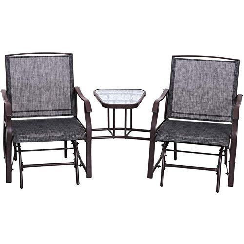 AOLI Chaises de jardin double à bascule Gliding causeuse avec Middle Table Conversation Ensemble de patio Cour arrière