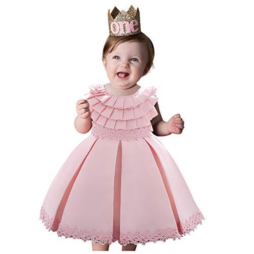 WOYAOFEI Mädchenkleid Sommer Baby Mädchen Prinzessin Kleid Blumenmädchenkleid Taufkleid Festlich Kleid Hochzeit Partykleid Festzug Babybekleidung 0-4 Jahre Kurzärmliges Faltenkleid