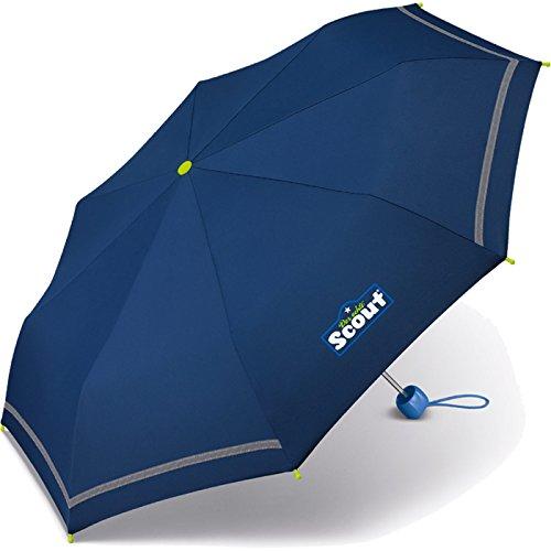 Scout Kinder Regenschirm Taschenschirm Schultaschenschirm mit Reflektorstreifen extra leicht (Blau)