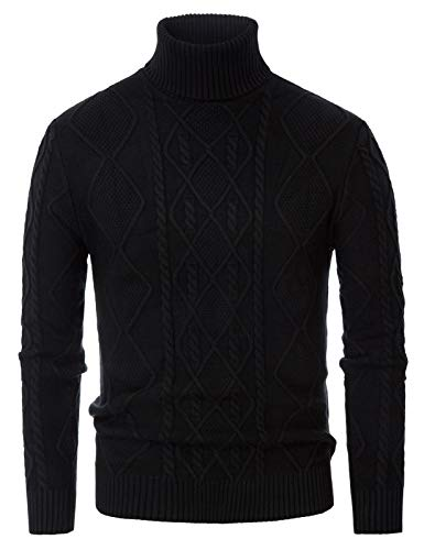 Men's Irish Pullover Sweater Cable Knitted Vintage Turtleneck Sweaters Black XL