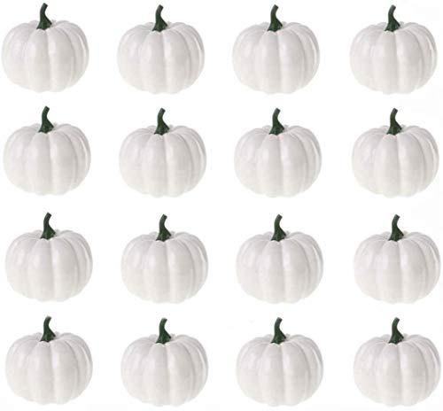 WND Indoor Outdoor 16 PCS Mini Schaum Halloween Kürbis für Herbst Thanksgiving Halloween Garten Home Hochzeitsfeier, Weiß