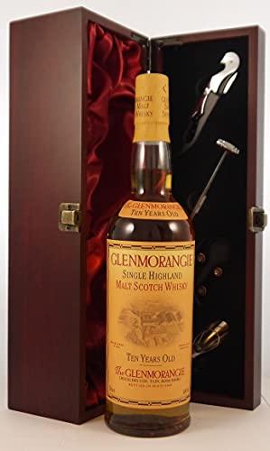 Glenmorangie 10 year Old Single Malt Whisky en una caja de regalo forrada de seda con cuatro accesorios de vino, 1 x 750ml