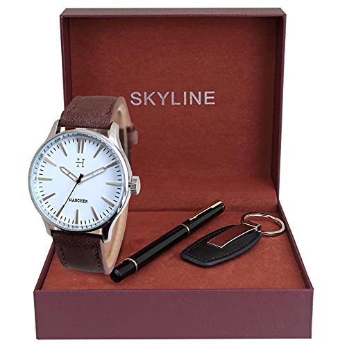 SKYLINE Caja de Reloj Hombre, Conjunto de Reloj Granate, Bolígrafo, Llavero, Caja de Acero Inoxidable, Caja de Regalo de Tela, Regalo Ideal, Reloj Marrón-Blanco