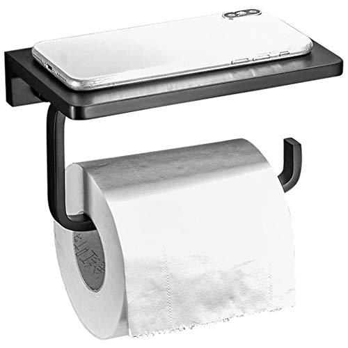 JDJFDKSFH Soporte de Papel higiénico, Soporte de Papel de Papel higiénico de Acero Inoxidable montado en Pared con Soporte para teléfono móvil para Cocina y baño.