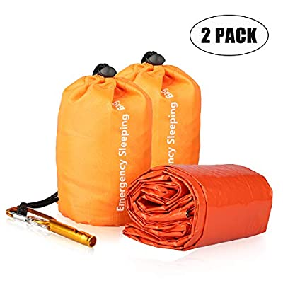 EEEKit Emergency Sleeping Bag, Waterproof Lightweight Thermal Bivy Sack, Survival Blanket Bags Portable Nylon Sack for Camping, Hiking, Outdoor, 2 Pack, Orange