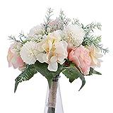 Ramo de flores artificiales de novia con cinta rosa blanca y rosa hortensia, aliento de bebé, romero, plantas verdes, ramilletes para novia, ramo de boda, fiesta, centros de mesa, decoración del hogar
