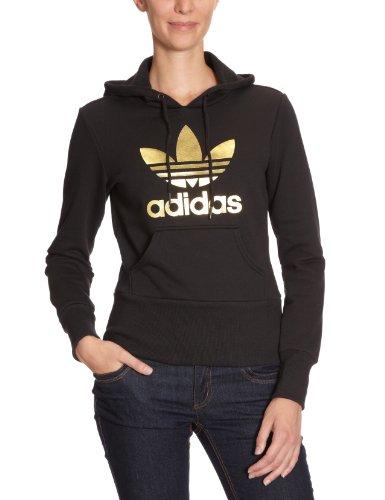 adidas Trefoil Hood - Sudadera de tiempo libre y sportwear para mujer, talla 34, color negro / dorado