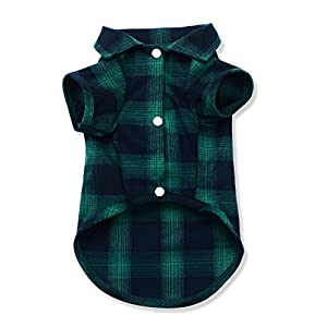 Koneseve Dog Shirt, Pet Plaid Polo Clothes Shirt T-Shirt, Sweater Bottoming Shirt for Small Dog Cat Puppy Grid Adorable Wearing Stylish Cozy Halloween,Christmas Costumes {Green;XL/Extra Large}