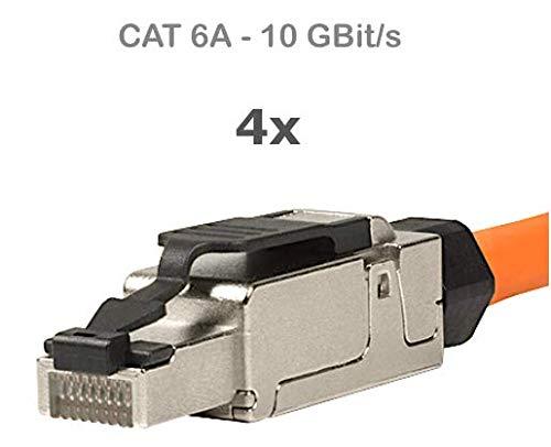 odedo 4X RJ45 Cat 6A Netzwerkstecker feldkonfektionierbar Cat7 geschirmt 10 Gigabit werkzeugfreie Montage mit Zugentlastung, Crimp Stecker Field Terminable Plug (4 Stück)