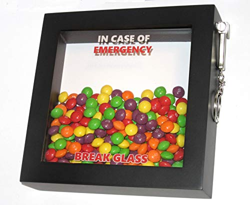 Geburtstag oder Weihnachten Bei anwesendem Notfall, Break Glass Gift Box. 3D-Rahmenbonbons, Retro, altmodische Bonbons. Mars, Twix, Snicker, M & M's, Polos, Kit Kat, Crunchie Ideales Füllmaterial