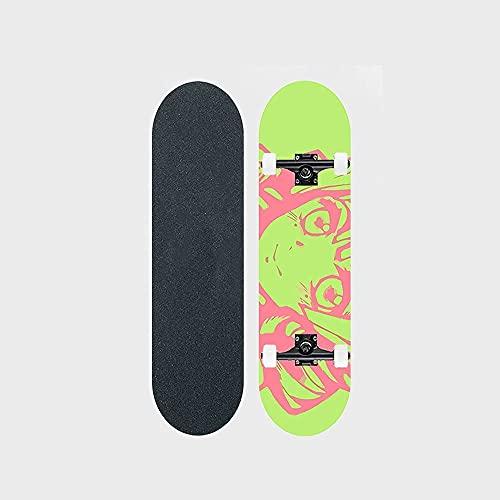 "Demon Slayer Series Anime Skateboard Kanroji Mitsuri Estilo De Pintura Patrón De Transferencia De Calor Cubierta De Tabla De Skate De Arce De 7 Capas Tablero De 31 ""de Largo Rodamiento De Doble Balanc"