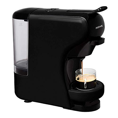 IKOHS Máquina de Café Espresso Italiano - Cafetera Multi Cápsulas Compatible Nespresso 3 en 1, 19 Bares con 2 Programas de Café, deposito extraíble, 0,6 L, Compacto, 1450 W, Apagado automático Negro