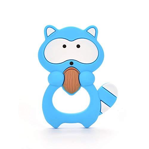 Waschbär Form Sinnes Beißring Baby Spielzeug - Soft, natürliche antibakterielle Silikon - Best für Sore Gums Schmerzlinderung, Umweltfreundlich, BPA frei, Gefrierschrank Safe - Blau