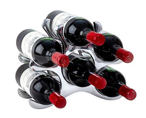 Estante para vino moderno Soporte para botellas para almacenar 6 botellas de metal Altura 22 cm Ancho 28 cm