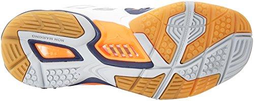 Mizuno Herren Wave Stealth American Handball Schuhe, Mehrfarbig (White/bluedepths/orangeclownfish), 45 EU - 2