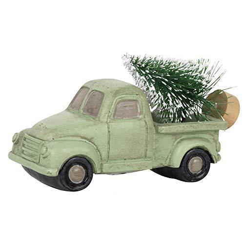 Ib Laursen Weihnachtsschmuck Auto Pick Up mit Christbaum/nostalgisch/grün / 3,8 x 5 x 9 cm - Dekoidee - Vintage