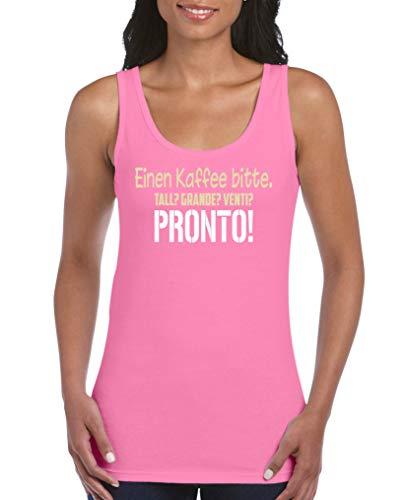 Comedy Shirts - Einen Kaffee Bitte. Tall? Grande? Venti? Pronto! - Damen Tank Top - Pink/Beige-Weiss Gr. XL