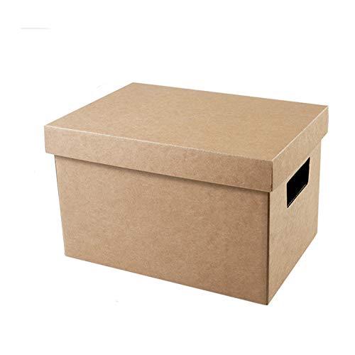 AINH Papel Kraft Plegable Caja De Almacenaje,Ahorro De Espacio De Gran Capacidad Contenedor De Almacenamiento para El Libro De Archivos De D,Transpirable Apilable Caja De Almacenamiento-Un 32x22x20cm