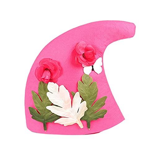 F Fityle Sombrero de Bruja Moderno Disfraz de Moda Sombrero de Bruja Fieltro de Lana, Disfraz de Fiesta para nia Mujer - Rojo