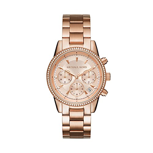 Michael Kors Damski chronograf kwarcowy zegarek stal szlachetna, różowe złoto, One Size, bransoletka